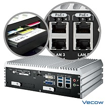 Vecow ECS-9000 supports 6 GigE LAN with 4 IEEE 802.3at PoE+ LAN and 3 external SIM sockets