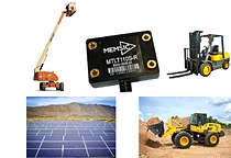 The MTLT family of tilt sensors are appropriate for a wide range of static and dynamic applications in construction and industrial markets such as boom tilt monitoring, bucket loader roll back protection, PV/CSP solar tracking systems and others.