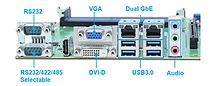 I/O Interfaces of Portwell's RUBY-D716VG2AR: An Industrial ATX motherboard featuring 4th generation Intel Core processors and Intel Q87 chipset in an LGA1150 socket, DDR3 SDRAM, triple display, dual Gigabit Ethernet and USB ports