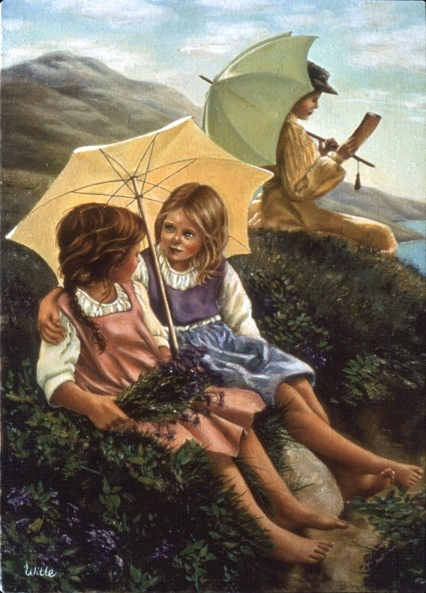 Two young country girls are in intimate conversation under a yellow parisol. The sit on the edge of a hill full of wildflowers overlooking the sea. Their guardian, a young woman sits near them reading a book under a parisol.