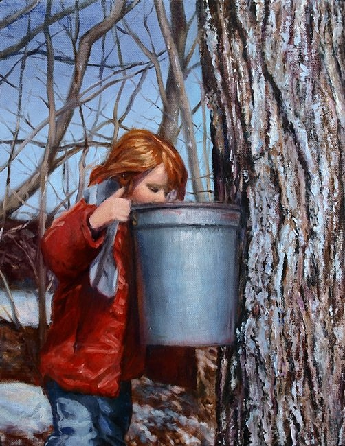 A young child (small girl with red hair) peers into the contents of a sap bucket hanging from a Maple tree in New England (Vermont) on a sunny day in winter (patches of snow on ground in deciduous forest).  The contents of the bucket will be processed into Maple Syrup (