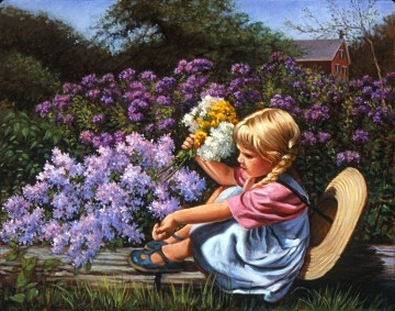 Little blond girl has been roaming the Vermont countryside picking flowers. She has stopped to rest on a fallen log by pink and lavender flox flowers. Her family's red brick house shows in the distance.
