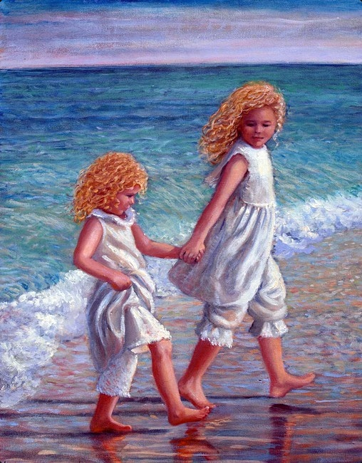 Careful to avoid ocean waves, two sisters (young girls with curly blond hair) walk barefoot across a beach.