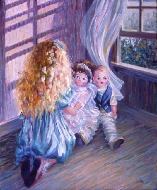 A little girl with blond air dresses her play dolls, sitting on the wooden floor of her playroom by an open window.