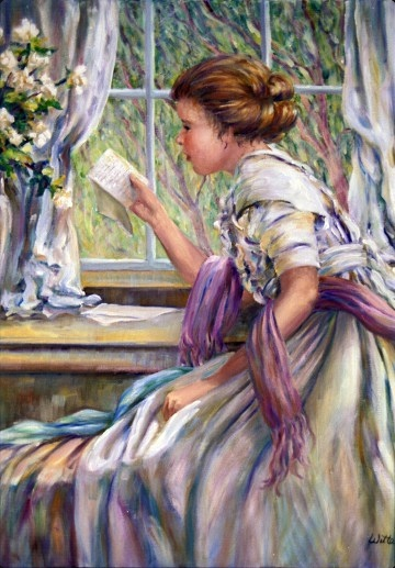 A young woman sits at a window reading an important letter. Vibrant colors in rainbow hues shimmer on her white dress.