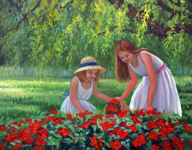 Beneath the shade of a willow tree, two young girls explore a patch of red flowers.