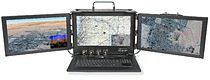 """MTP Ruggedized Trifold """"Lunchbox"""" Portable Computing System with THREE 18.5"""" (1920 x 1080) resolution LCD displays in a small form factor rugged-portable configuration"""