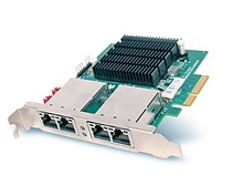 Portwell's BPC-51242: A quad-port network adapter supporting copper Gigabit Ethernet interface via Intel's I350-AM4 MAC+PHY Ethernet Controller; Intel SR-IOV functionality; built-in Watchdog Timer (WDT) to bypass Ethernet ports when host system hangs or suffers power failure; PCIe x4 (and ready for PCIe v2.0 5GT/s solution).