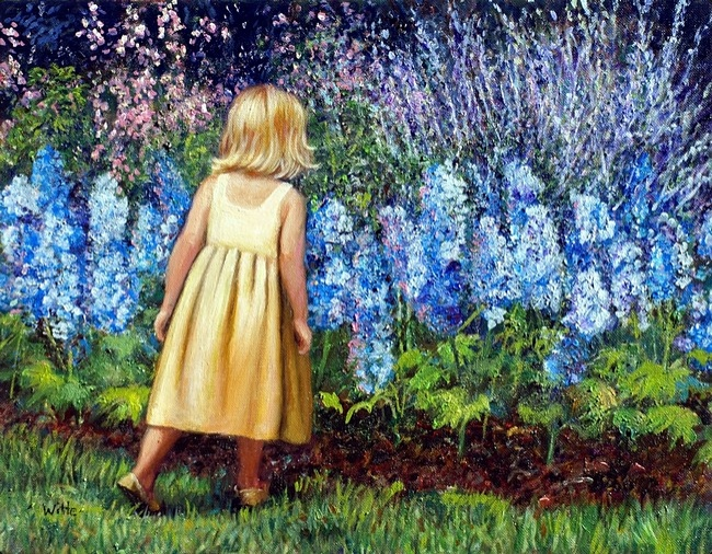 A young girl in a yellow dress sniffs an aromatic patch of bluebell flowers.