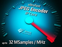 Alma Technologies introduces the first of a new series of Ultra High Throughput image and video compression IP Cores. This new ultrafast JPEG Encoder IP, offers scalable performance and silicon resources versatility in highly cost-effective FPGA and ASIC technologies.