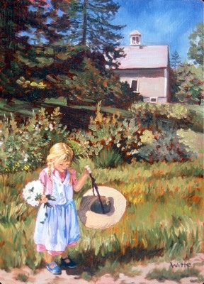 A girl, hat in one hand and flowers in the other, frolics in her yard, somewhere in rural America.