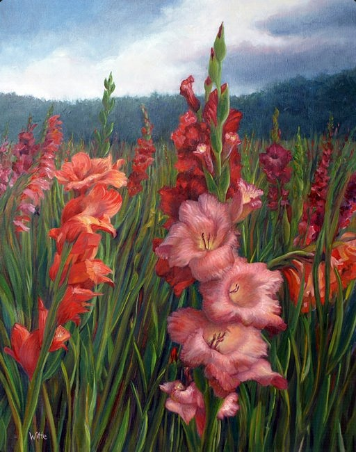 A ground-level close-up of gladiolas together in a pasture (open field) beneath a rush of clouds in a windy sky . The Green Mountains (Vermont) are in the background.  [22x28 oil on canvas]