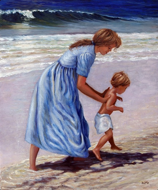 Avoiding a calamity, a mother dispatches her young son into the upper part of a sandy beach.  The Ocean's waves will not reach him there.