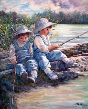 Two young children in overalls and hats play at fishing as they sit on a rocky outcrop on the sandy Georgia beach.